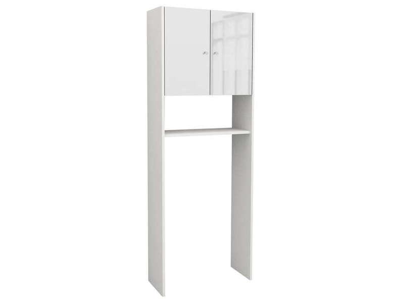 Pont Rangement Wc Machine Laver Soramena Coloris Blanc Vente De Armoire Colonne Etagere Conforama