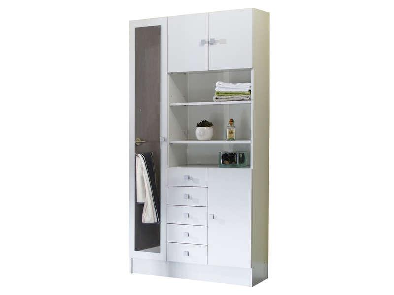 colonne salle de bain 90 x 29 6 cm weni coloris blanc vente de armoire colonne etagere conforama