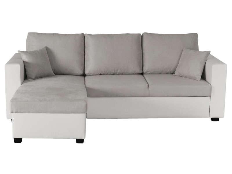 canape d angle convertible et reversible 5 places glenn coloris gris blanc en pu tissu vente de canape d angle conforama