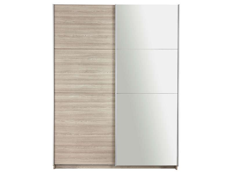 armoire 2 portes avec miroir fast 2 coloris chene shannon vente de armoire conforama
