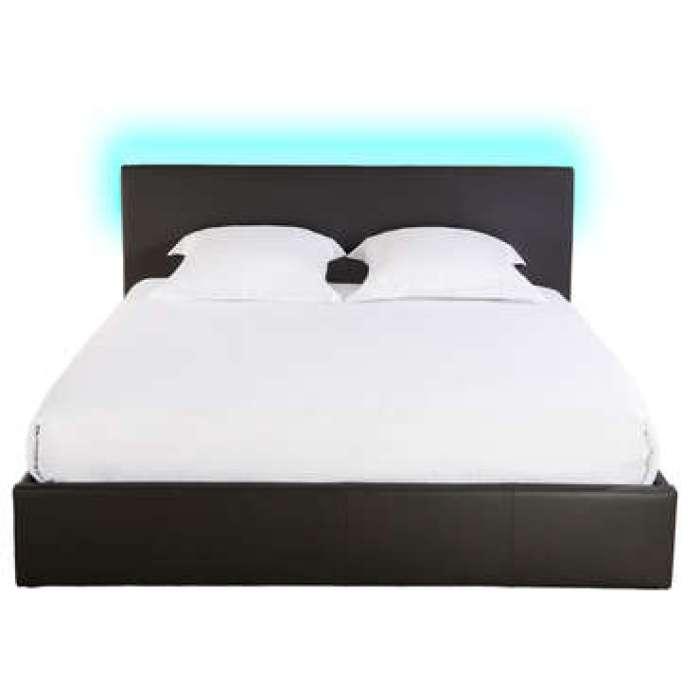 Lit-coffre 160x200 cm avec led STEVA LIGHT coloris noir