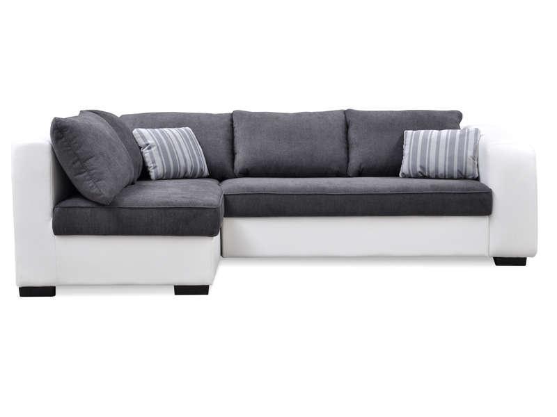 canape d angle convertible gauche 5 places yann coloris blanc gris en tissu pu vente de canape d angle conforama
