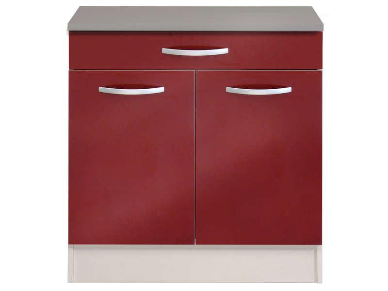 meuble bas 80 cm 1 tiroir 2 portes