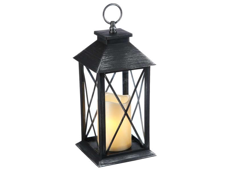 lanterne avec bougie led integre 2 coloris assortis noir gris brosse ou gris fonce vente de autre objet de decoration conforama