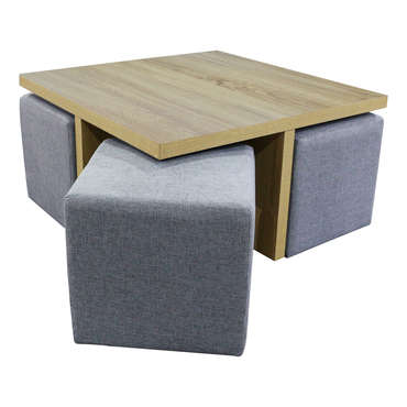 table basse carree 4 poufs 677371