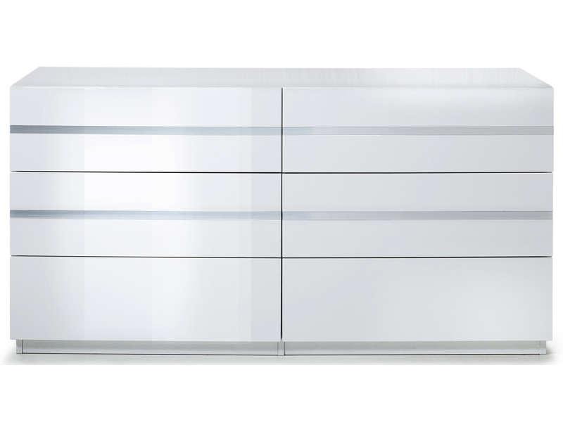 Commode 6 Tiroirs Glass Coloris Blanc Vente De Commode Conforama