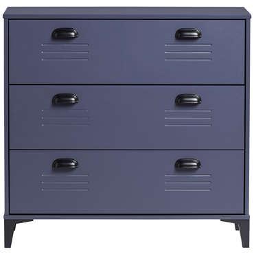 commode 3 tiroirs zack coloris bleu