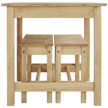 ensemble table et 2 bancs de cuisine
