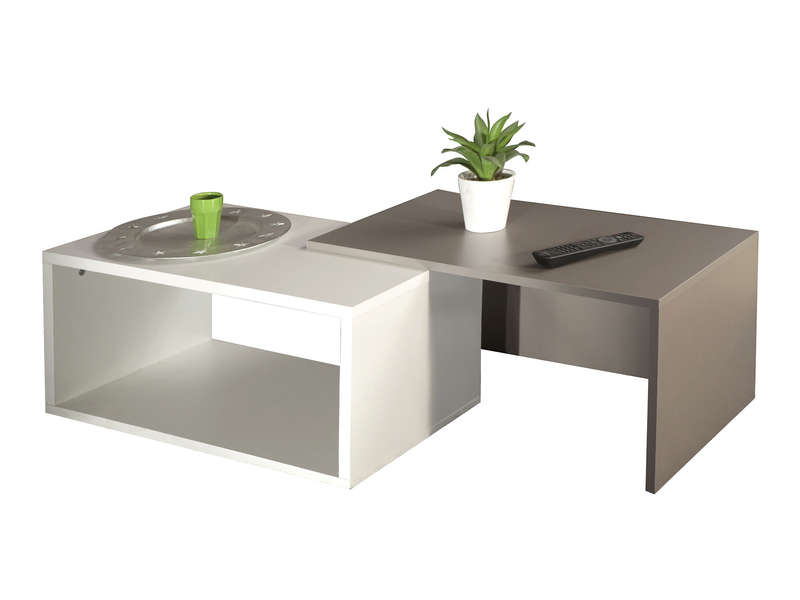 Table Basse Gigogne Rubis Coloris Blanc Taupe Conforama