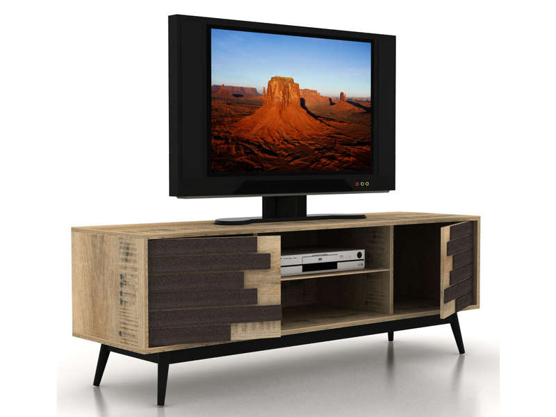 Meuble Tv 140 Cm Ethnica Coloris Gris Noir Pieds En Metal Vente De Meuble Tv Conforama