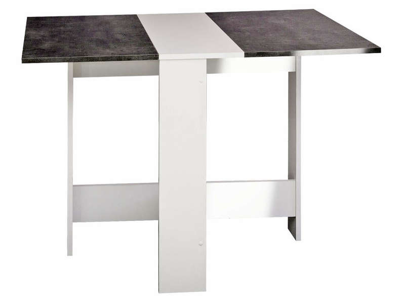 Table De Cuisine Pliante Sishui Coloris Blanc Beton Vente De Table Conforama
