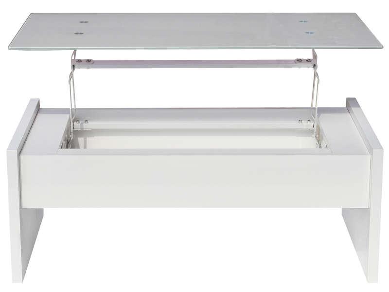 Table Basse Rectangulaire Avec Plateau Relevable Lexie Coloris Blanc Vente De Table Basse Conforama