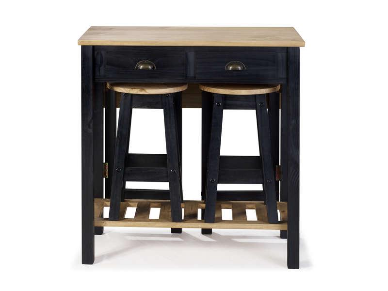 Ensemble Table Pliante 2 Tabourets En Bois Massif Sharona Coloris Noir Vente De Ensemble Table Et Chaise Conforama