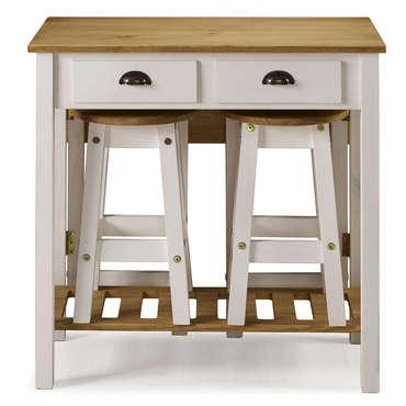 Ensemble Table Pliante 2 Tabourets En Bois Massif Sharona Coloris Blanc Vente De Ensemble Table Et Chaise Conforama