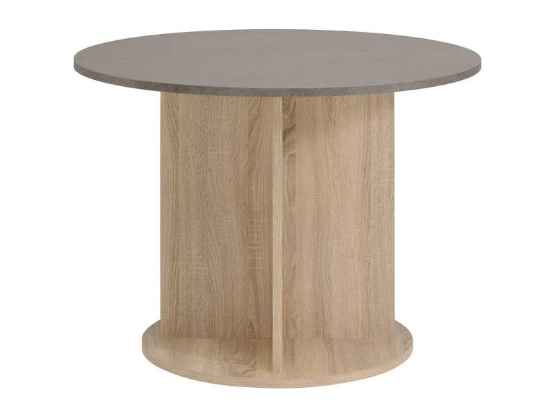 Table Ronde 100 Cm Demon Coloris Chene Beton Vente De Table Conforama