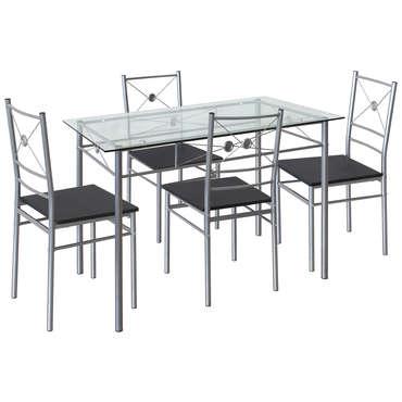 Ensemble Table 4 Chaises De Cuisine Hanoi Coloris Gris Vente De Ensemble Table Et Chaise Conforama