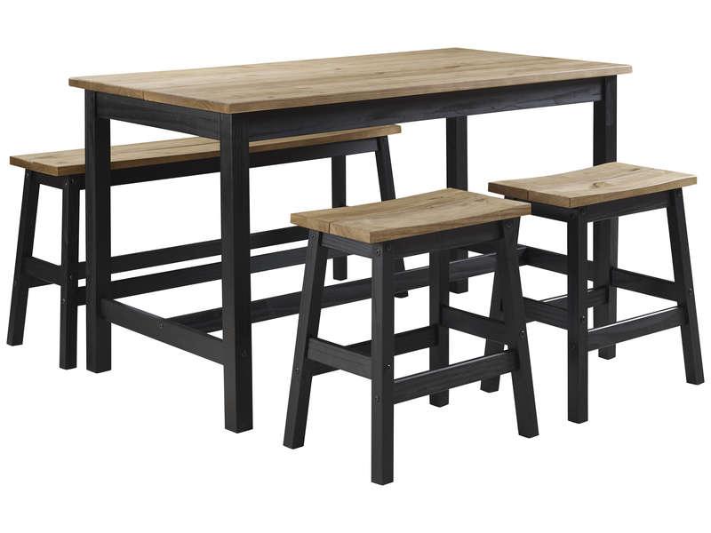 Ensemble Table 2 Tabourets 1 Banc De Cuisine San Diego Coloris Naturel Noir Vente De Ensemble Table Et Chaise Conforama