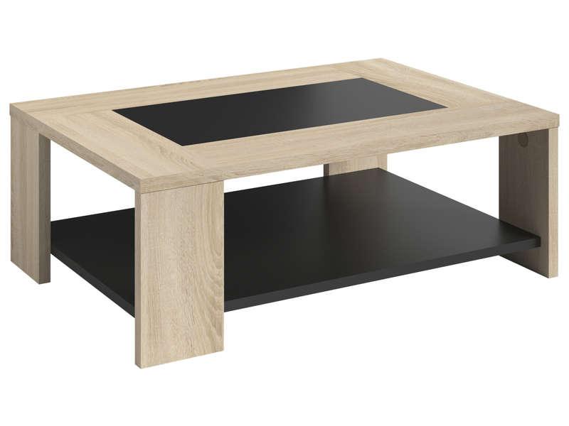 Table Basse Rectangulaire Sofie Coloris Sonoma Et Noir Vente De Table Basse Conforama
