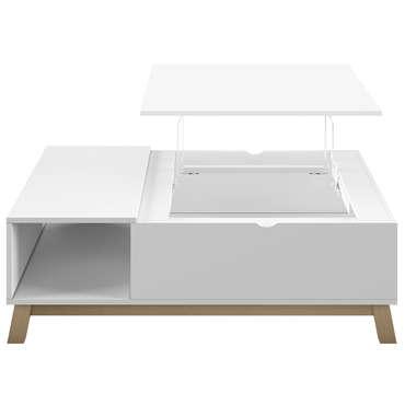 Table Basse Plateau Relevable Lift Up Coloris Blanc Et Chene Vente De Table Basse Conforama