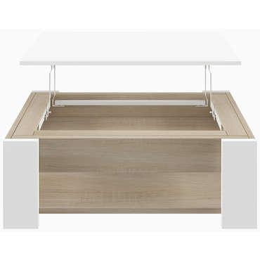 Table Basse Plateau Relevable Wally Coloris Blanc Et Chene Vente De Table Basse Conforama