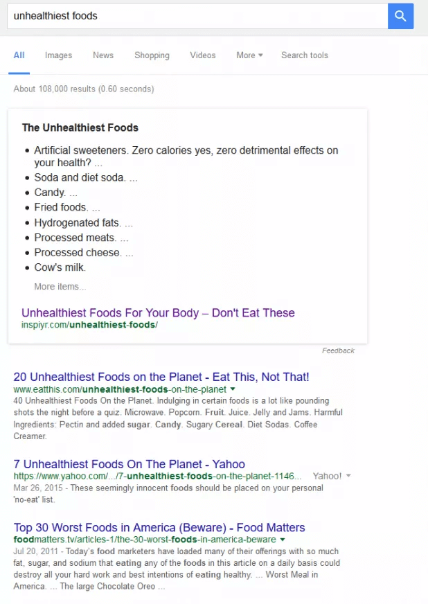 Unhealthiest foods search results