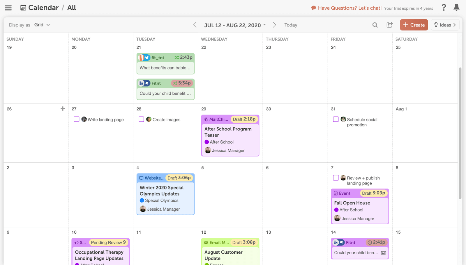 CoSchedule editorial calendar with tasks and projects