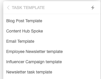 Task template options in marketing suite