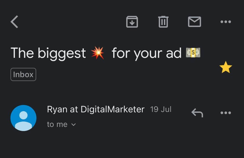 Emojis in a subject line