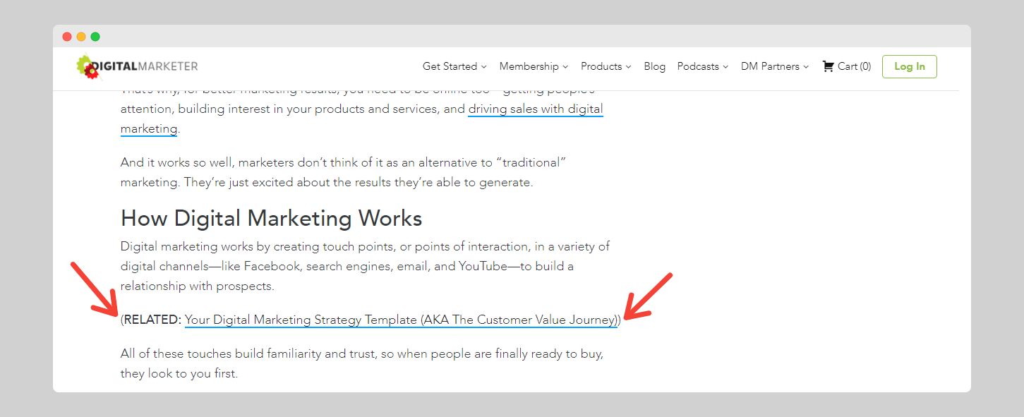 Lead magnet embedded in articles