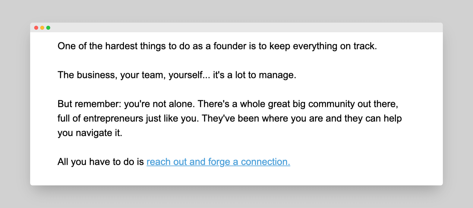 Build a relationship email