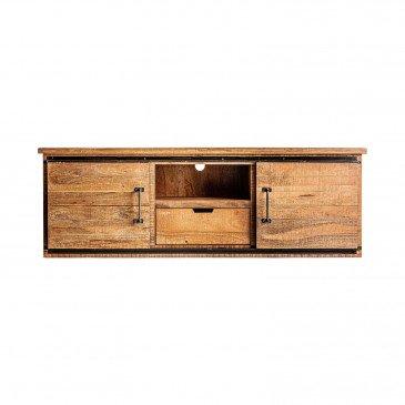 meuble tv bois et fer style vintage naturel ashbourne