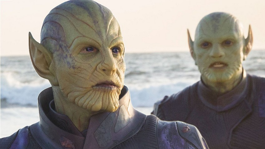 No Captain Marvel's Skrulls and Thanos are not related... well kinda 6
