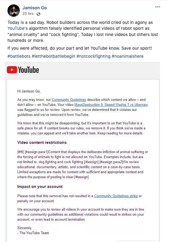 YouTube accidentally bans BattleBot videos for animal cruelty 4