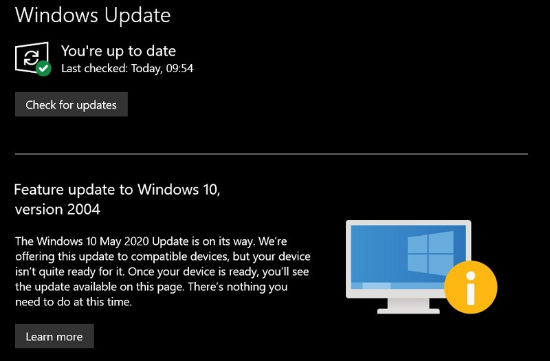 Microsoft's Windows 10 May update is currently blocked on most machines 4