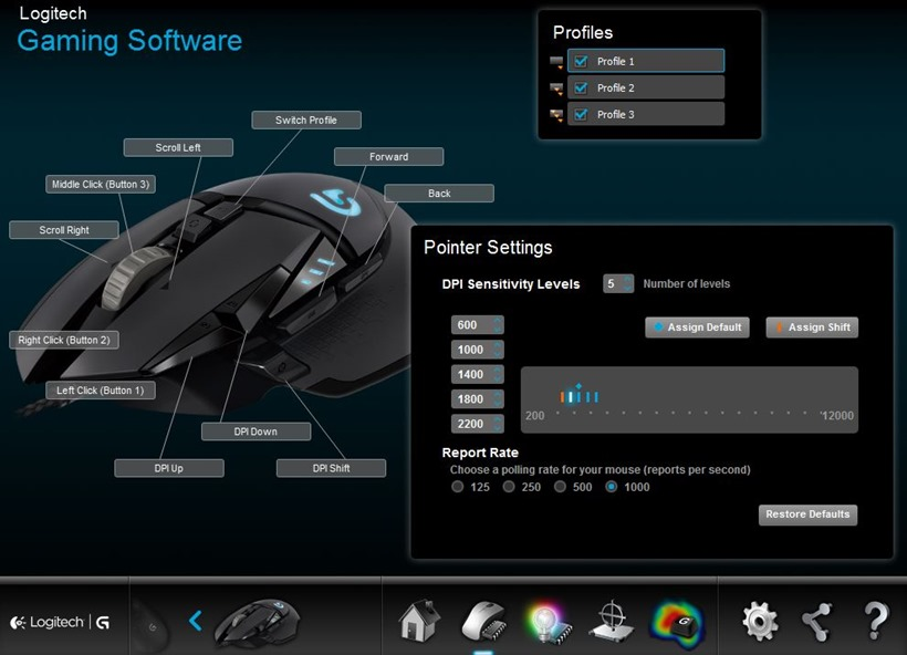 Logitech G502 Proteus Spectrum Gaming Mouse software