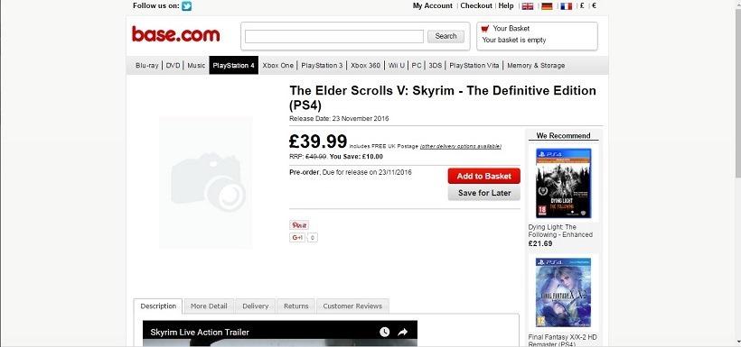 Skyrim Remaster leaked on retailer website