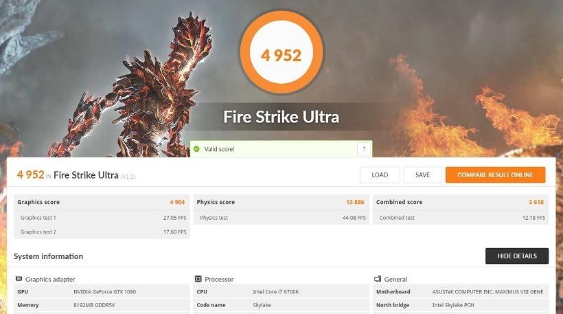 GTX 1080 FireStrike Ultra Benchmark