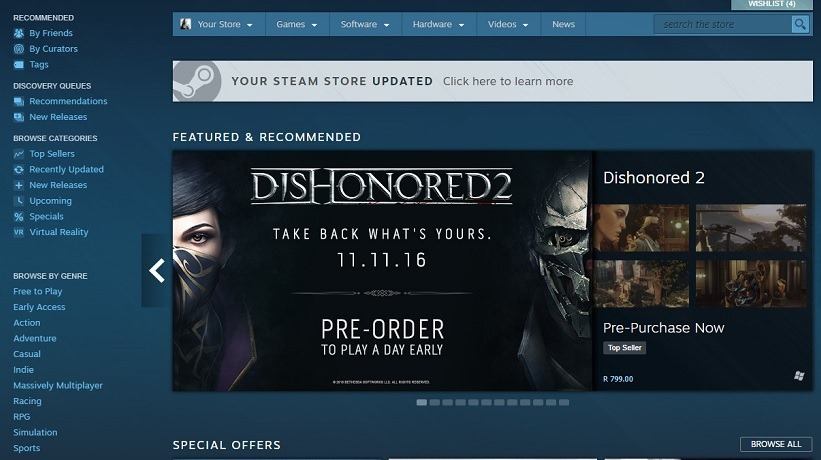 Steam updates its front page