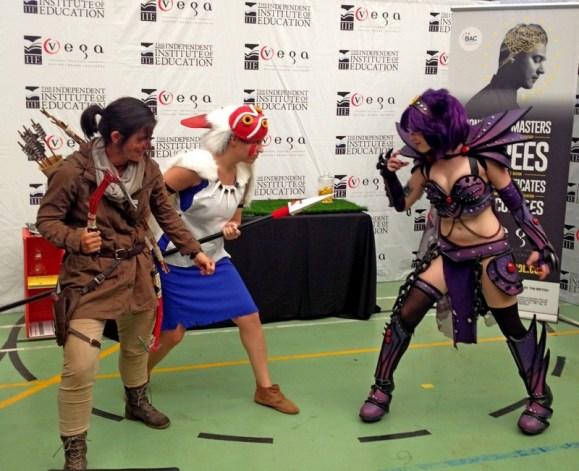 Noelle as Lara Croft (Gaming winner), Dana as San and Kelsey/JinxKitty Cosplay as Gengar (Anime and Manga, and Overall winner).