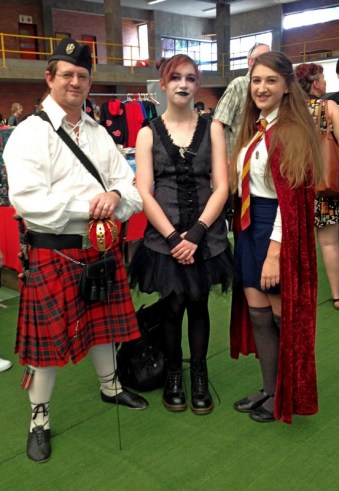 Stephen in traditional Scottish dress, Emma-May as a goth and Abigail as Hermione Granger.