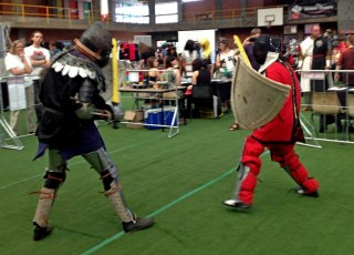 Fight a Knight fundraiser. between con attendees and Sword & Shield Club members.