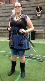 Celeste as Medieval Lara Croft.