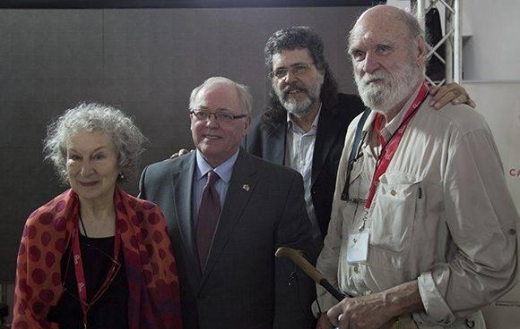 Margaret Atwood, George Furey, Abel Prieto y Graeme Gibson. Foto: Ladyrene Pérez/ Cubadebate.