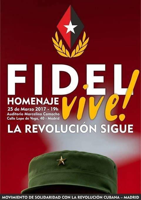 El afiche de convocatoria del homenaje a Fidel en España. Foto: Página de Facebook del Embajador de Cuba en España