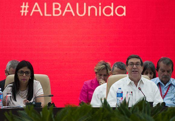 El canciller cubano, Burno Rodríguez, convocó a los países del ALBA a apoyar la Revolución Bolivariana. Foto: Ladyrene Pérez/ Cubadebate.