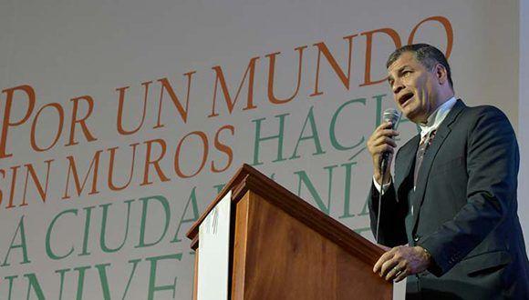 """""""Trump retrocede en lo que se había avanzado para levantar el bloqueo criminal contra Cuba"""", afirmó Correa. Foto: PL."""