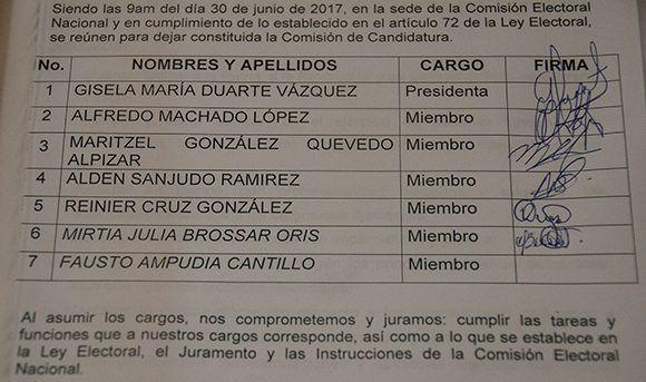 Acta de constitución de la Comisión de Candidaturas Nacional. Foto: Irene Pérez/ Cubadebate.