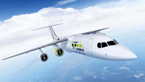 Esta ilustración proporcionada por Airbus el martes 28 de noviembre muestra una recreación artística del avión híbrido de pruebas Airbus e-FanX. Airbus via AP) Read more here:<a rel=