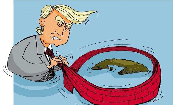Desde su ascenso a la presidencia de Estados Unidos en enero de 2017, Donald Trump no ha cesado en su política hostil contra cuba. Ilustración Osval