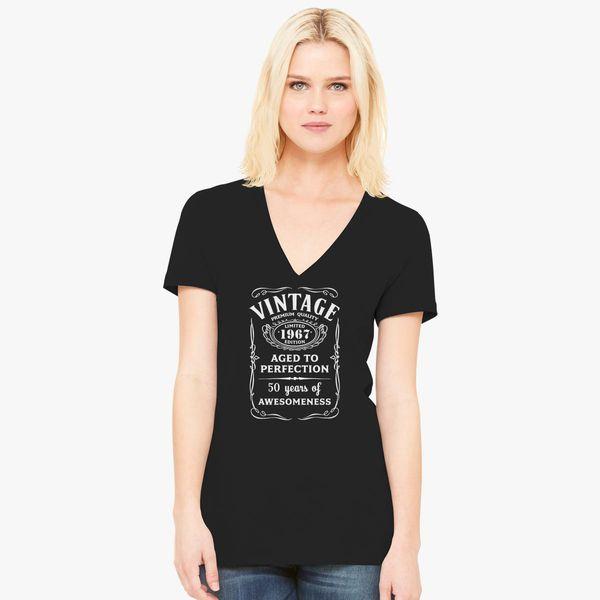 50th Birthday Gift Vintage Limited 1967 Edition Women S V Neck T Shirt Customon
